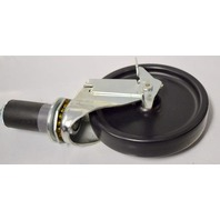 "1- Shepherd Institutional 5"" Dia Soft Rubber Wheel Swivel Caster w/ Top Lock Brake, Expanding Stem, 200 lbs Capacity"