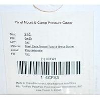 "Panel Mount U Clamp Pressure Gauge, 2 1/2"", PSI 0-400, NPT 1/4"", Lense Polycarbonate"