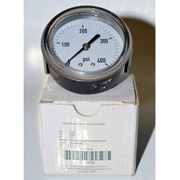 "Panel Mount U Clamp Pressure Gauge, 2 1/2"", PSI 0-400, NPT 1/4"", Lense Polycarbonate"