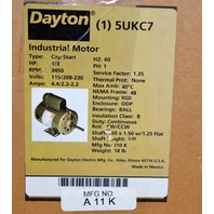 Dayton Industrial Motor - 5UKC7, MFG NO. A11K Cap Start, 1/3 HP, 3450 RPM
