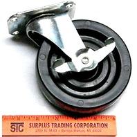 "5"" x 1 1/4"" - 4 pc set - 2 Swivel plate mount w/brake and 2 w/o, Plastic wheel - #5712"