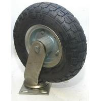 "1 - 10"" Pneu Swivel Plt MTt Caster 4.10 x 3.50 x 5, 4 Ply Tube Type Wheel - #6405"