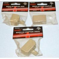 Hawk Brand: Modular Cord Coupler, Modular Duplex Jack, Modular Adaptor 3 ways.