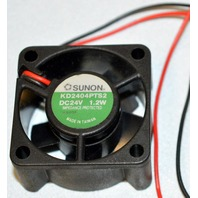 "Sunon 1.2W - 24V DC Fan, 1 1/2"" square, # KD2404PTS2."