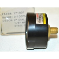 "Air Gauge - 1/8"" MPT CBM/Steel Case, Range 0-100PSI Part #171901 kPa 0-700"