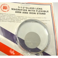 "3 1/2"" Glass Lens, Magnifier w/Flexible Arm and Iron stand. 16"" tall. #55160"