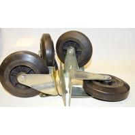 "4"" x 1 "" Caster set-2 Swivel, 2 Rigid, Plate mount, Rubber on Poly - 600 lb cap per set"