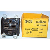 Hubbell Receptacle #8430, 30A, 250V, 3 Phase, 4 Wire - Older style