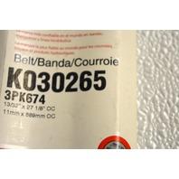 Gates K030265 - Alternate Number 3PK674 -Micro-V Belt New Old Stock