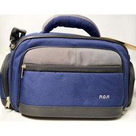 RCA Camera Bag #BC05GA, Blue Nylon, Many pockets w/shoulder strap