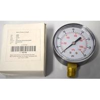 "4EFA9 Metric Pressure Gauge, PSI:0-160,KPA0-1100, 1/4"" Lens:Polycarbonate - Dry"