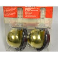"""Shepherd #9315 Pk of 2, 3"""" Ball Casters for hard floors - Dull Brass Finish."""