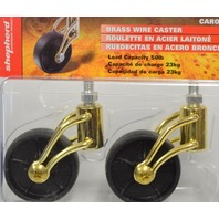 "Shepherd #3356 2"" Designer Brass Wire Stem Caster ""Carolina"" 50 lb cap per. 2 Pk"