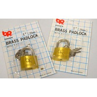 "1"" Brass Padlock with 3 Keys each.- 2 Padlocks."