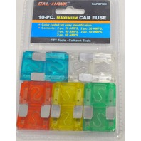 Cal Hawk 10 pc Maximum Car Fuse #CAPCFMX, color coded for easy identification.
