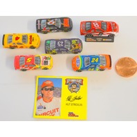 "Racing Champion ""Hut Stricklin"" 35mm Nascar models-6 cars, 1 pedistal, info card."