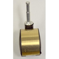"1 3/4"" Dual Wheel Furniture Caster - 5 Pcs. - Brushed Brass Hood."