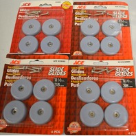 """Ace Slide Glides #5039680 - 1 1/2"""" Round Low Friction Glides 4per pk - 4 packs."""