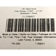 """1/8"""" Blind Rivet #5NNV1 - 500 pcs - Grip Range:0.063"""" - 0.125"""" made for Grainger"""