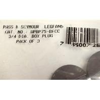 """Pass & Seymour  3/4"""" Diameter Box Plug - 3 pack."""
