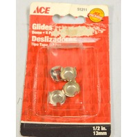 "Ace 1/2"" Metal Dome Floor Glides-4 per pack-6 packs per box. #51211"