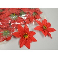 "Faux Pointsettia - 4"" across - Red - 100 pack. Table Decorations no stems."