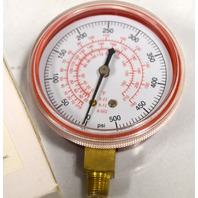 """Refrigeration Manifold gauge - 2 1/2"""", 0-500 PSI, 7/8"""" NPT, Red Poly Back-4CFD2"""