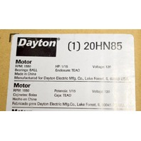 DAYTON HVAC Motor,1/15 HP,1550 rpm,120V, Shaft 1/4 x 2.0, Type PSC, #20HN85