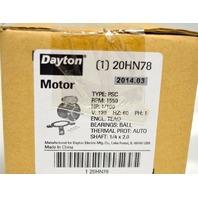 Dayton #20HN78 HVAC Motor, 1/100 PH, 1550 RPM, Type PSC, 120V,60Hz PH 1