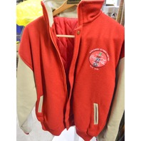 Vintage Olympic Coke Jacket 1996 -Red Wool/Tan Leather Size XL Zipper Front