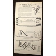 U.S. Space Shuttle Glider Kit (Cut-Out) Unused,un-folded w/instructions.
