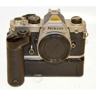 Nikon FM Silver Camera Body w/ Nikon MD-12 - From an estate.