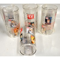 Vintage Set of 4 Plastic TV Guide Drinking Glasses 50's -90's- W/TV guide Throw