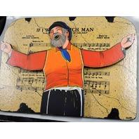 """""""If I Were A Rich Man"""" 14"""" X 10"""" Wooden Art - Artist Irwin Signed 3D Wall Decore"""