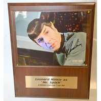 "Leonard Limoy as ""Mr. Spock"" LE 1 of 50-Signed 8x10 on wooden pallet."