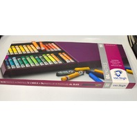 Royal Talens Box of 60 Oliepastels-Van Gogh, Box drawer pushes in and locks.