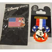 2 - Disney Collectible Pins: Mickey's Medal and Veteran's Day Pin.