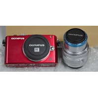 NIB Olympus Pen Lite E-PL3 EPL3 Camera Red-with Zoom Lens 14-42mm f3.5-5.6 IIR