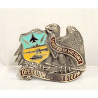 United in Victory Operation Desert Storm Pewter Belt Buckle #2052.