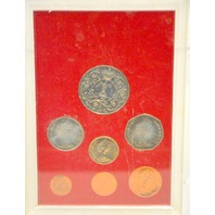 Silver Jubilee 1952 to 1977 - 7 pc coin collection - Plastic has cracks in it.  (1977)
