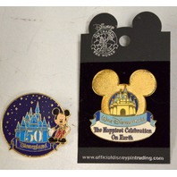 2 - Disney  pins: Disneyland 50th Anniversary & The Happiest Celebration on Earth