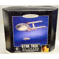 "Hallmark Keepsake ""Star Trek"" 30 Years Set of 2 Ornaments w.Display Base"