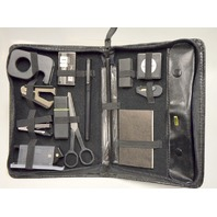 Black Leather Zipper Case filled with on the go office tools.