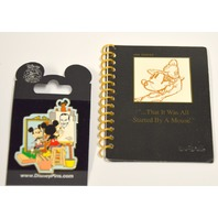 2 items: Mickey Painting Walt-Norman Rockwell Pin..That it was all started by a Mouse