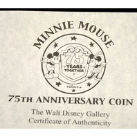 2- Silver Coins: Mickey Mouse & Minnie Mouse 75th Anniversary Coin