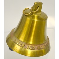 """4"""" Brass Bell for Bar Decor """"Afore ye go, Bell's Old Scotch Whiskey"""""""