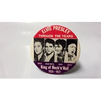 "3.5"" Pinback Metal Elvis Presley King of Rock 'n'Roll-1935-1977"