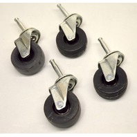 "Set of 4 - 2"" Swivel Caster set, Tapered Stem - Soft Rubber - New Old Stock"