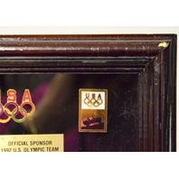 "1992 U.S. Olympic Team ""Jeep"" LE Commemorative Pin Set.  Framed."