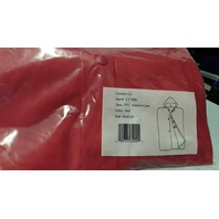 1 - Hooded Poncho - PVC Sideline Cape -  Color Red, No Sleeves